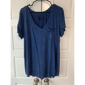 Blue Washed Out V-Neck Tee Plus Size